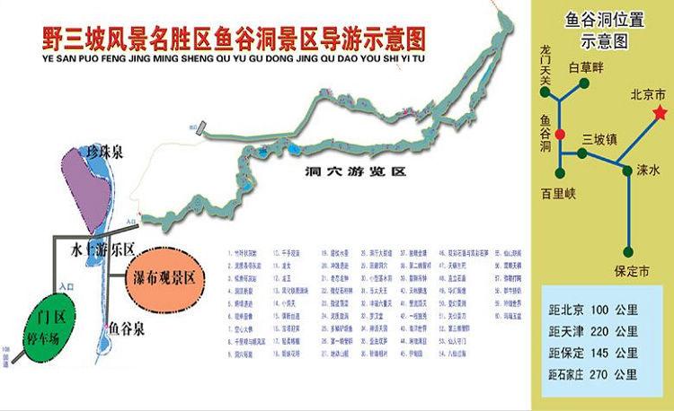 旅游指南 旅游地图 >> 野三坡鱼谷洞景区导游示意图  最新野三坡导游